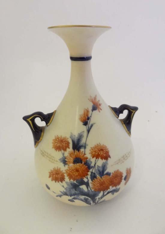 366: A c1900 Hadley's Worcester 2-handled vase of inver