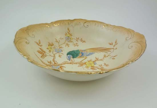 367: A mid 19thC porcelain hand painted dish moulded wi