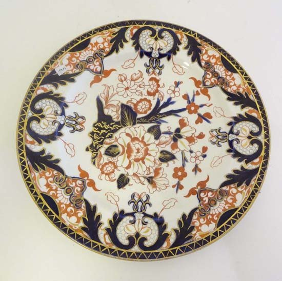 368: A late 19thC Crown Derby plate decorated in Imari