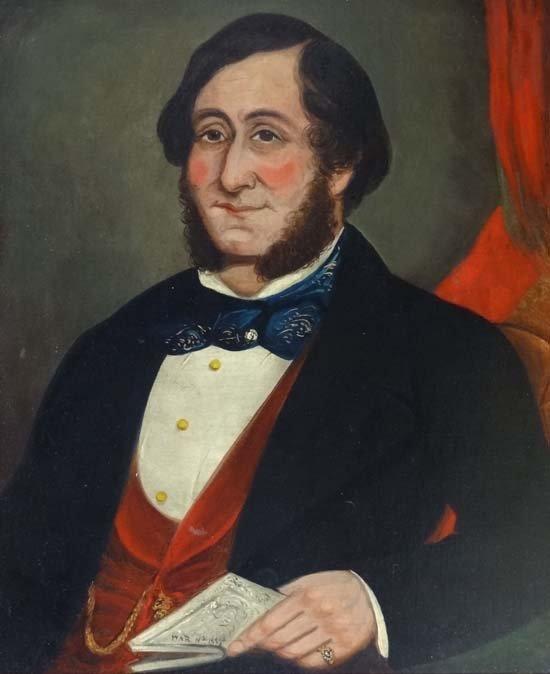 2: WAR 1855 Oil on canvas Portrait of a Victorian Gentl