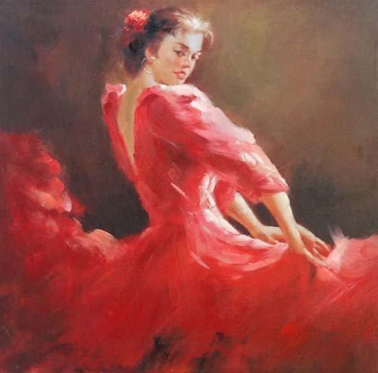 3: Unsigned Spanish School XX Oil on canvas,  Flamenco,