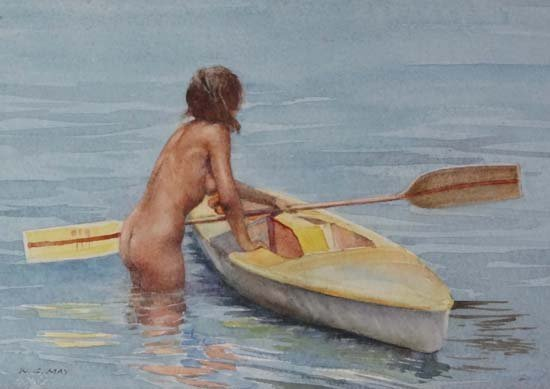 12: Wilfred Glyndon May (1922-2007) Watercolour Nude ab