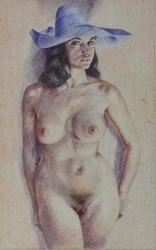 16: Wilfred Glyndon May (1922-2007) Coloured pencils Nu