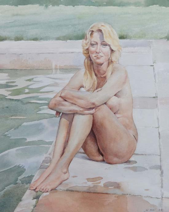 17: Wilfred Glyndon May (1922-2007) Watercolour 'Miss M