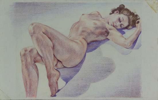 18: Wilfred Glyndon May (1922-2007) Coloured pencils Nu