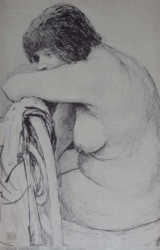 21: Kate Lefelt  (1891-1970) Pen ink and pencil 'Nude'