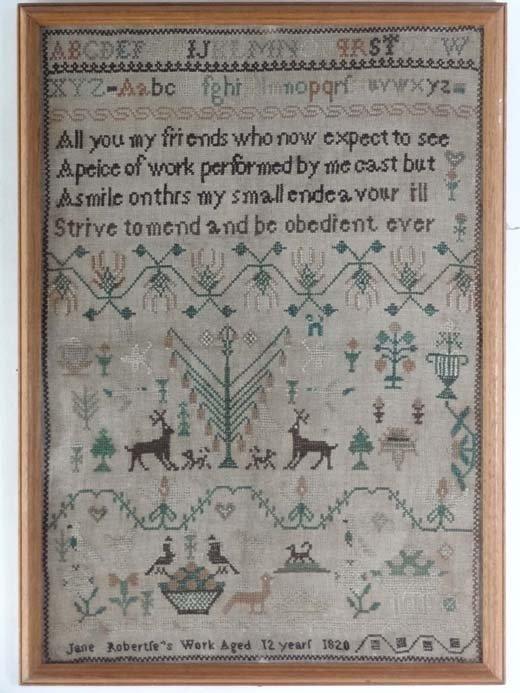 1: Sampler : an 1820 needlework sampler by Jane Roberts