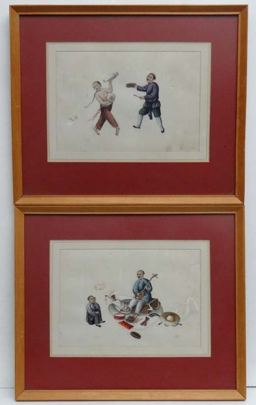 2: Chinese School C.1900 A pair of watercolour on rice