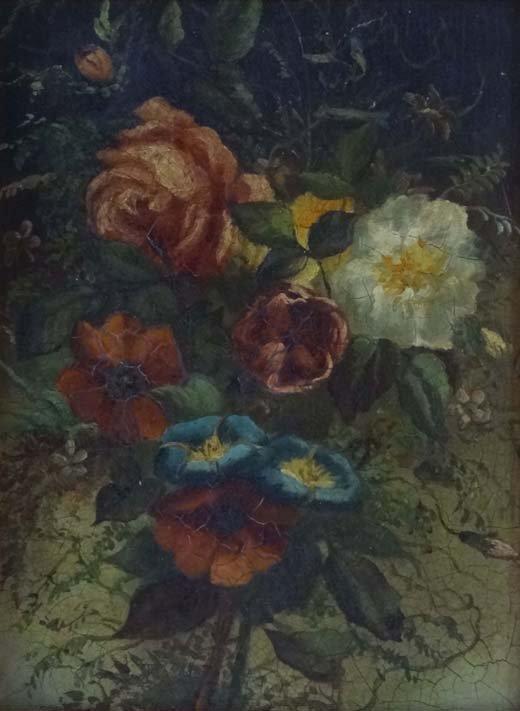 "13: English School Oil on board Flower piece 9 x 6 3/4"""