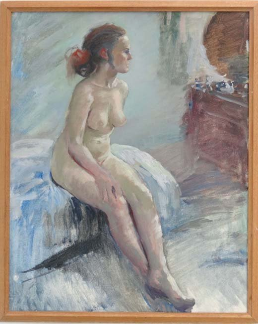 13A: XX School Oil on board Seated female nude Bears Ch