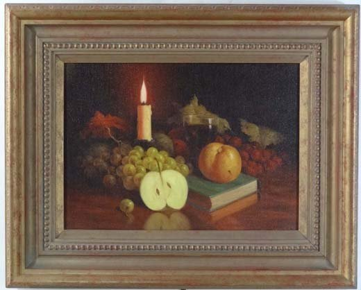 16: H. Shingler XX Oil on canvas Candle lit still life