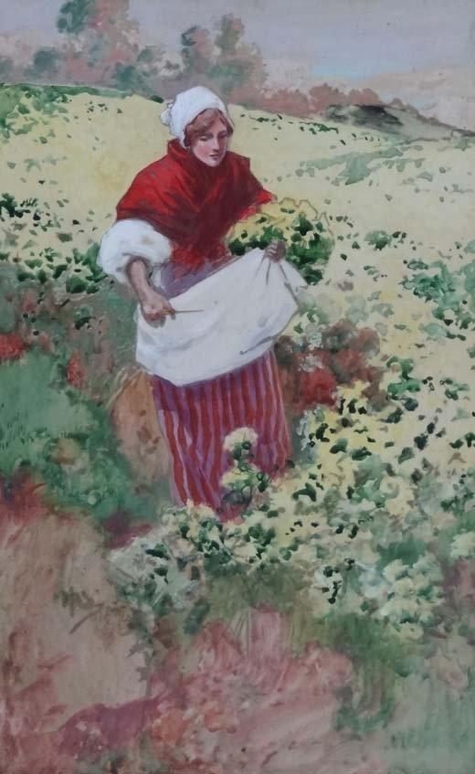 17: M Davidson?Early XX Watercolour and gouache A lady