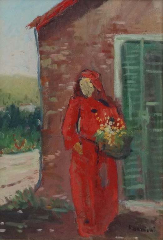 18: R Bardelli XX Italian Oil on canvas Female figure w
