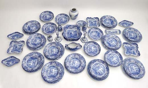 356: A large blue and white tea service by Spode decora