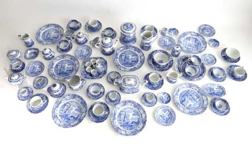 357: A large collection of blue and white by Spode deco