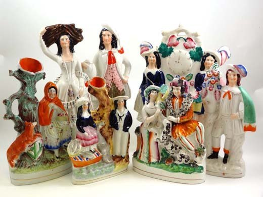 364: A collection of 6 Victorian Staffordshire figures