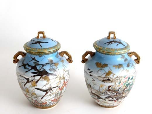 370: A pair of early 20thC Japanese 2-handled covered v