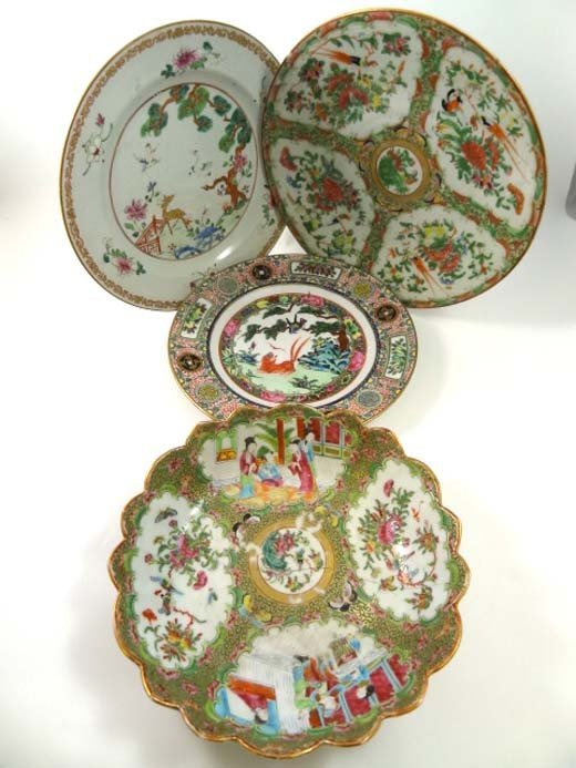 371: A collection of Chinese polychrome plates, 18th an