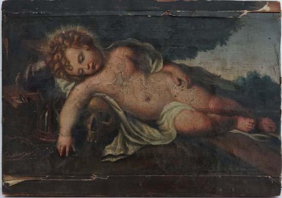 1: XVIII Oil on canvas Cherub as christ lying with huma