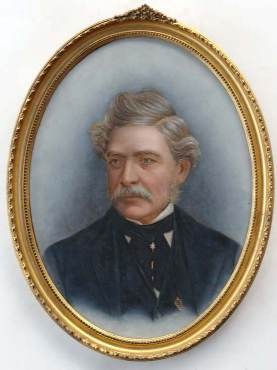 4: XIX Oil on board, an oval Portrait of a moustached g