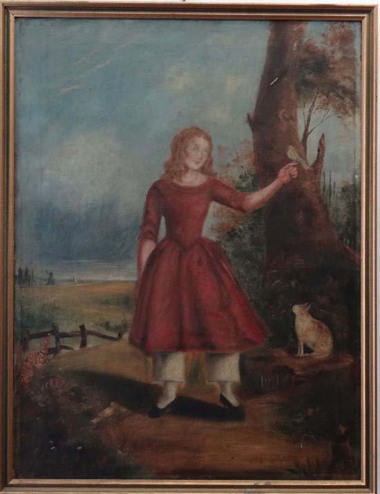 4A: XIX Naive School Oil on canvas Portrait of a child