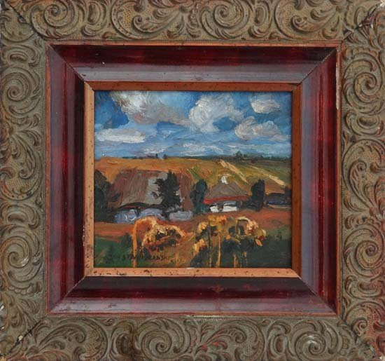 8: Impressionist style  Oil on board Summer cornfields