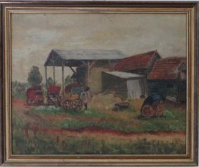 9: Late XIX English School Oil on canvas A farmyard 16