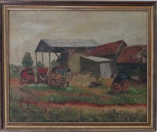 9: Late XIX English School Oil on canvas A farmyard 16