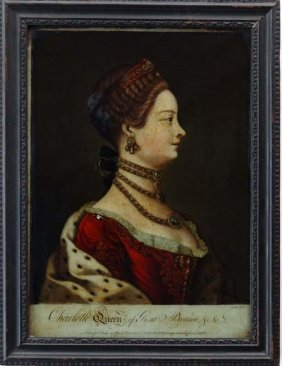 12: Regency Reverse glass mezzotint ' Charlotte Queen o