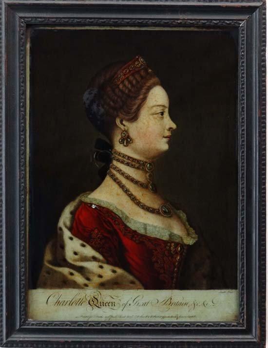12: Regency Reverse glass mezzotint ' Charlotte Queen o