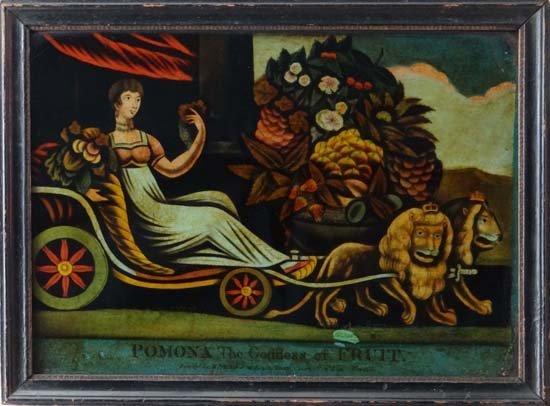 13: Regency Reverse glass mezzotint ' Pomona , The Godd