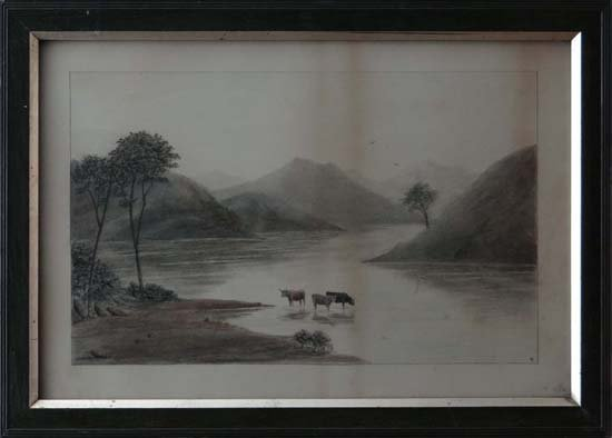 15A: Monogrammed c. 1900 Charcoal and watercolour Highl