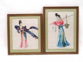 18: 2 early 20thC Japanese watercolours, lady carrying