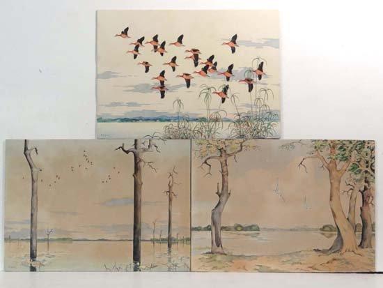 19: R F Jacob c1950 Australia Three watercolours Floode