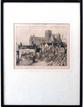 19A: Margaret M Rudge (XIX-XX) Etching ' York Minster '