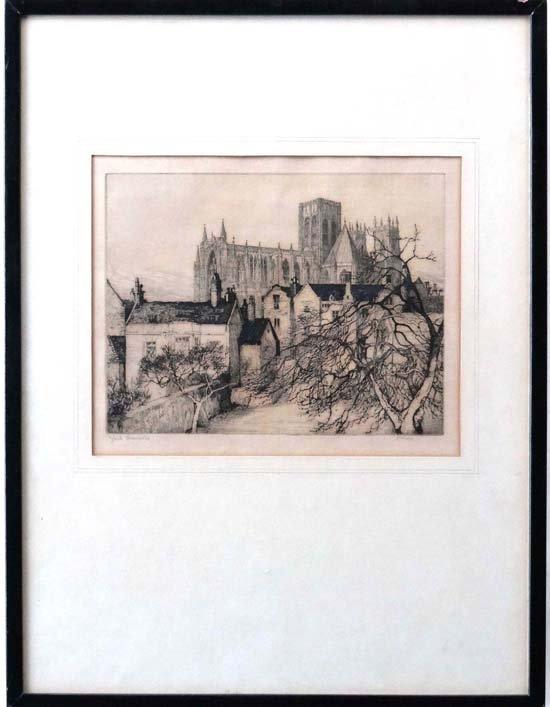19A: Margaret M Rudge (XIX-XX) Etching ' York Minster '