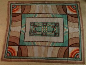 40: Rug : An Art Deco large carpet, the light beige and
