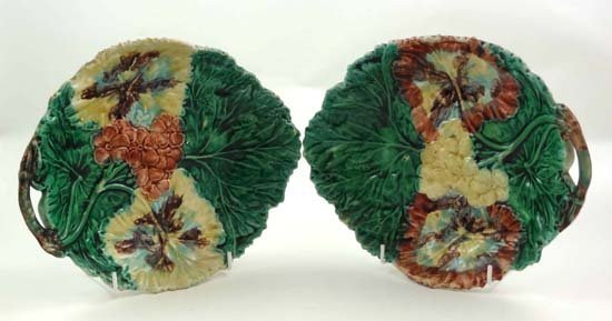 358: Two majolica polychrome serving dishes moulded wit