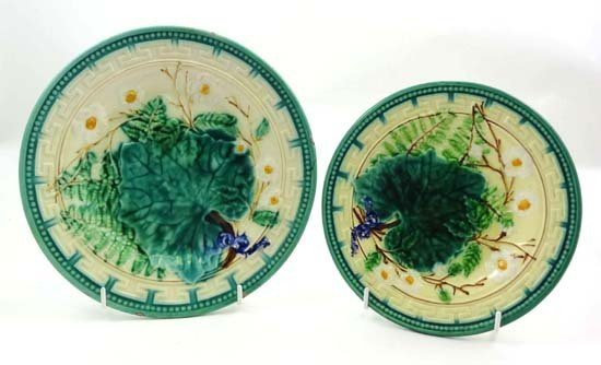 361: Two graduated majolica polychrome plates moulded w