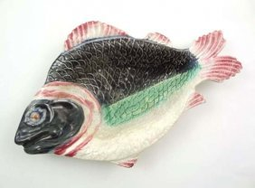 A Novelty Majolica Serving Dish In The Form Of A F