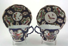 A Pair Of Worcester Blue Scale 1st Period Porcelai