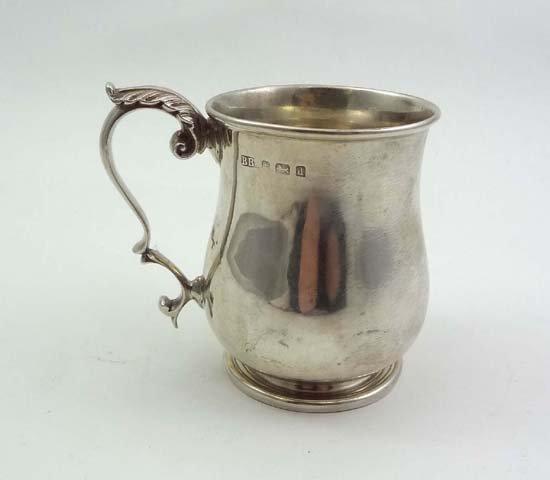 581: A HM silver Christening cup of tankard form, Birmi