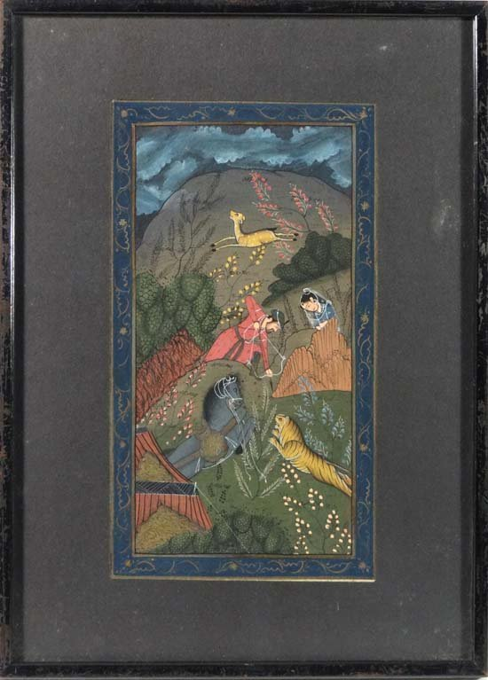 Indian Gouache : a hunting scene showing a man with bow