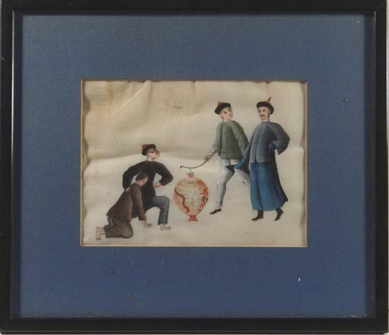 Japanese School Watercolour on rice paper Four figures