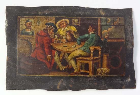 XVI / XVII School Oil on tin Ale drinkers in a tavern 1