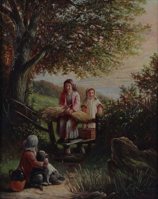 J G Snape XIX-XX Oil on board Returning home Signed in