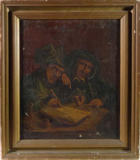 XIX Flemish School Oil on canvas The Money Lenders 13 1