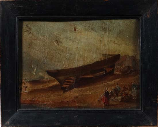 Early XIX English School Oil on board Beached boats and