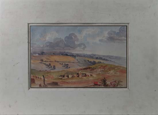 Attributed to Thomas Lound Watercolour Extensive hilly