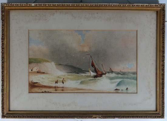 H J Stewart 1882 Watercolour Landing fishing boats in a